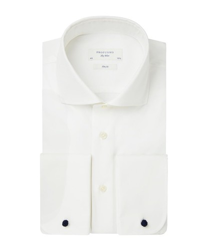 Profuomo Hochzeitshemd - Off White - Slim Fit - Twill - Double Cuff (1)