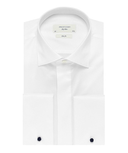 Profuomo Smoking Hemd - Weiß - Slim Fit - Twill - Double Cuff (1)